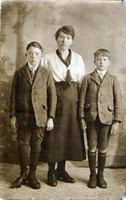 Ethel with eldest two sons, Peter left and Victor right