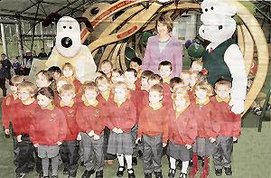 Knowing their onions: Eaton Bray Lower pupils pictured with two of their favourite film characters