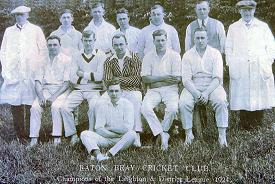 Eaton Bray Cricket Team 1924<br />Back Row: Earnest Gray - ??? ??? - Bill Neville - Frank Bates - Harry Pratt - Jim Bates - Arthur Andrews<br />Middle Row: Dave Bliss - Tommy Henley - Harold Hebbes - Ted Pratt - Vic Price<br />Front Row: John Thorne (click to view full photo)