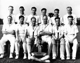 Eaton Bray Cricket Team 1951 / 52<br />Back Row: Dennis Maunders - Basil Ruffen - Len Garwood - Fred Simmons - Harold Pratt - Bill Court<br />Middle Row: Jess Thorne - Horace Rollings - Frank Pipkin - Hughie Davey - Jack Pratt - Basil Maunders<br />Front Row: Derek Maunders (click to view full photo)