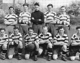 Eaton Bray Football Team - South Midlands League Winners 1953 Back Row Bill Sharratt - Basil Maunders - Ken Bearton - Bob Lines - Harry Savings Front Row Ron Horn - Basil Ruffett - Harry Witts - Frank Ashton - Joe Bates - Tom Burrows (click to view full photo)