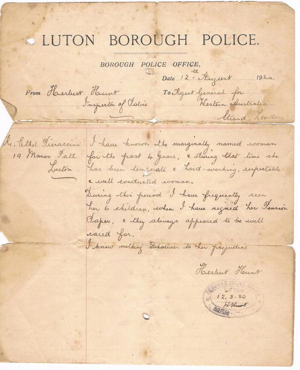 From Luton Borough Inspector of Police (Herbert Hunt) to Agent General for Western Australia (click to view full photo)