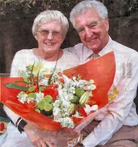 Norman and Vera Davies with their bouquet