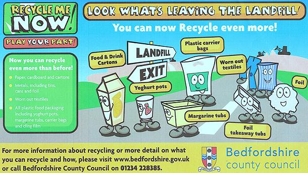 Recycle Now poster showing new plastic and foil types that can be recycled in standard recycling collection