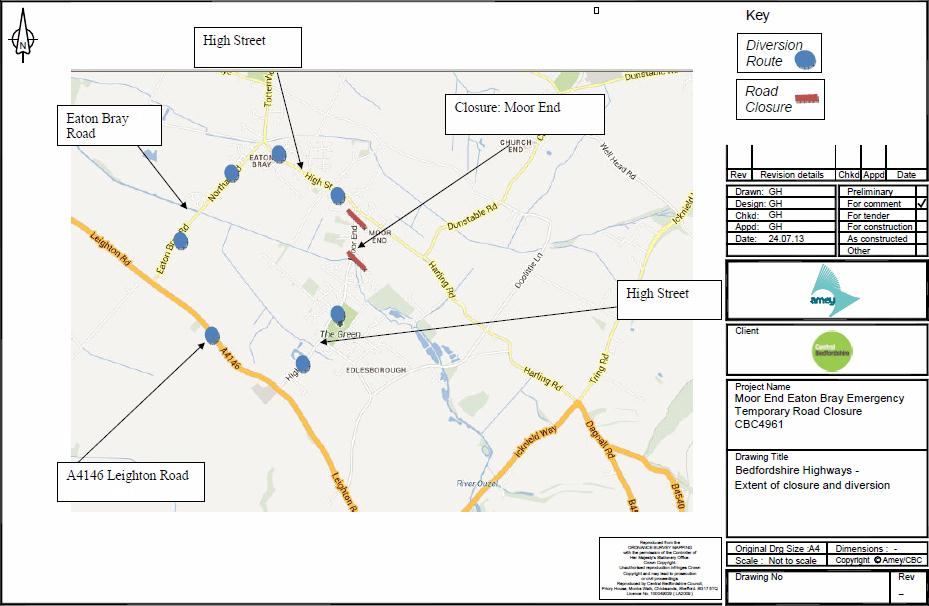 Moor End Road Closure Diversion Route