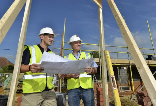 Castle Gate: Nathan Ellis, Site Manager and Steve French discussing the site plans