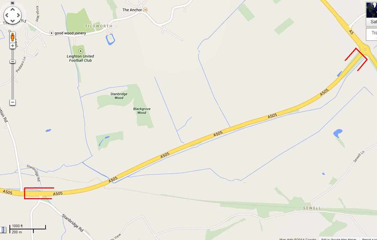 A505 Leighton Buzzard bypass - Highway works