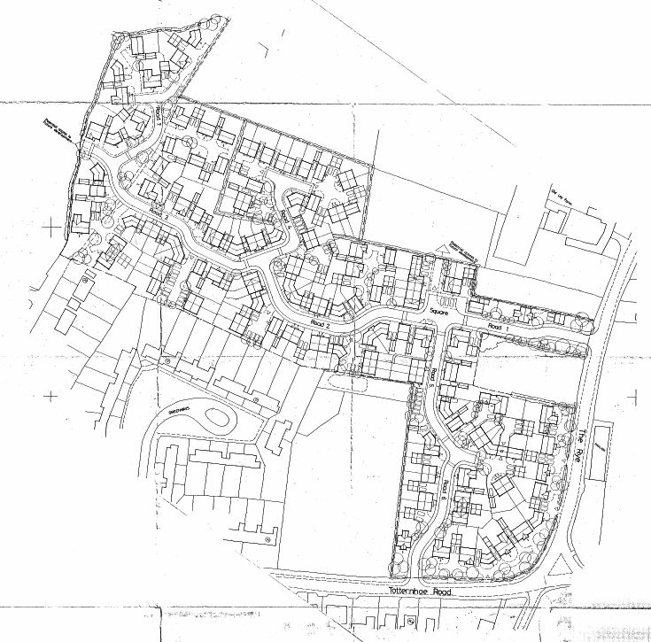 Plan of 150 new dwellings off Totternhoe Road / The Rye, Eaton Bray