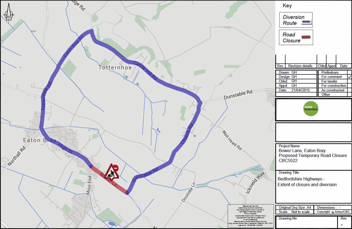 Bower Lane Temporary Road Closure - 21-22 July