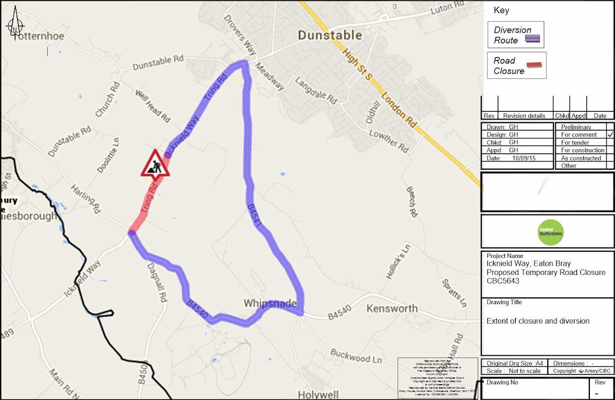 Proposed Road Closure - Tring Road/B489