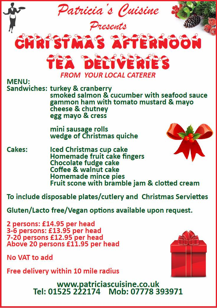 Patricia's Cuisine presents Christmas Afternoon Tea Deliveries