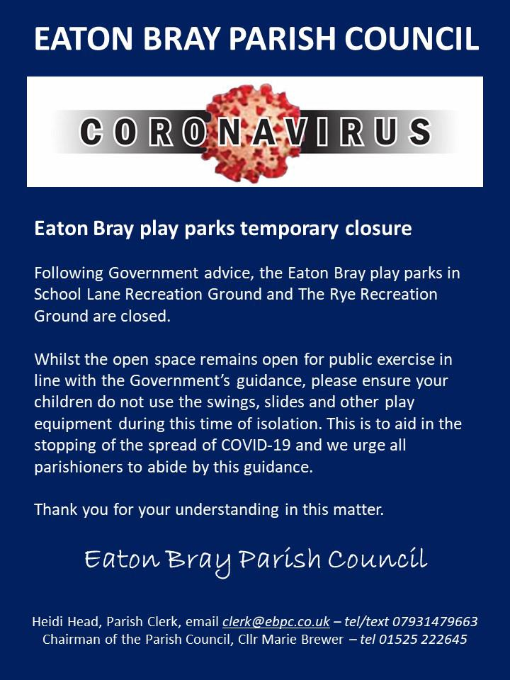 Coronovirus: Eaton Bray Play Parks temporary closure