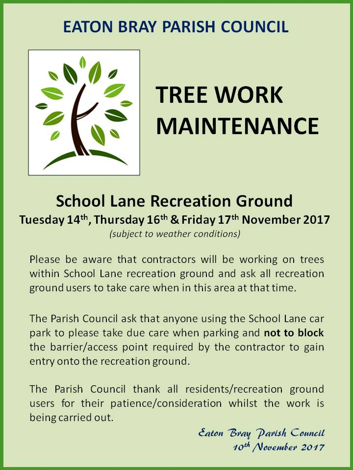 Notice: tree work, School Lane recreation ground