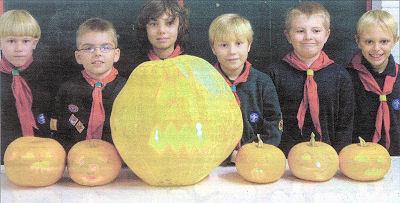 Eaton Bray Cubs with their Hallowe'en lanterns